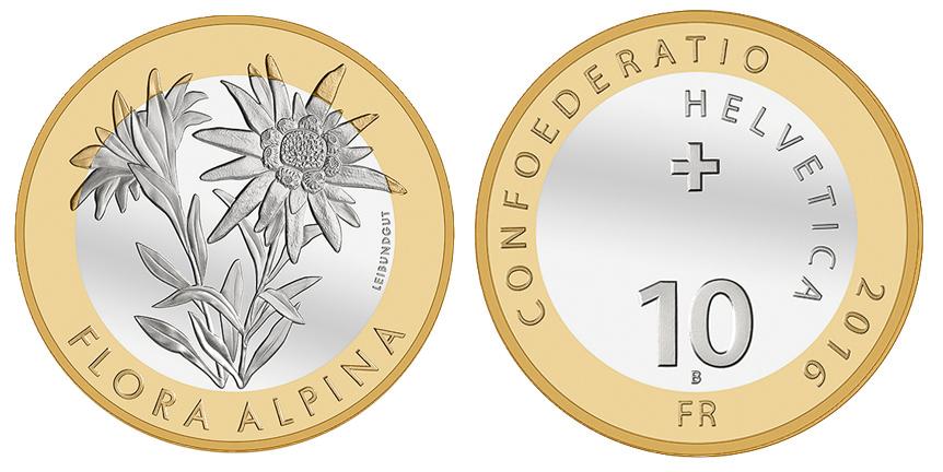10 Fr Sonder Münze 2016 Bimetallalpen Edelweiss