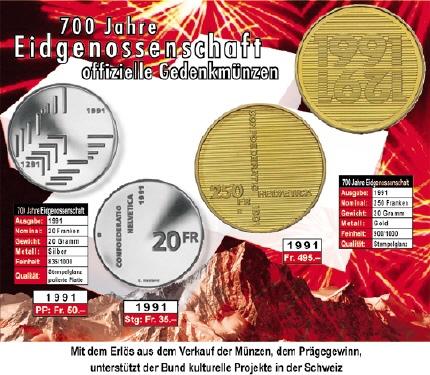 20 Frsonder Münze 1991 700 J Eidgenossenschaft