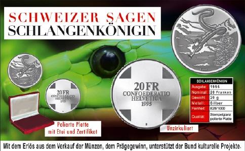 20 Frsonder Münze 1995 Rhät Schlangenkönigin