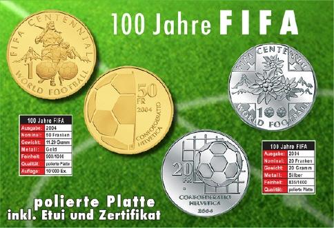 20 Frsonder Münze 2004 Silber Fifa